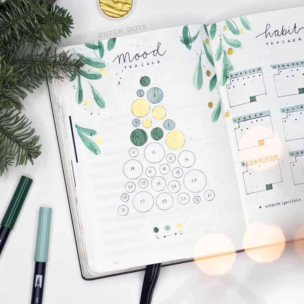 Winter Bullet Journal Inspirations, mood tracker by @dutch_dots | Masha Plans