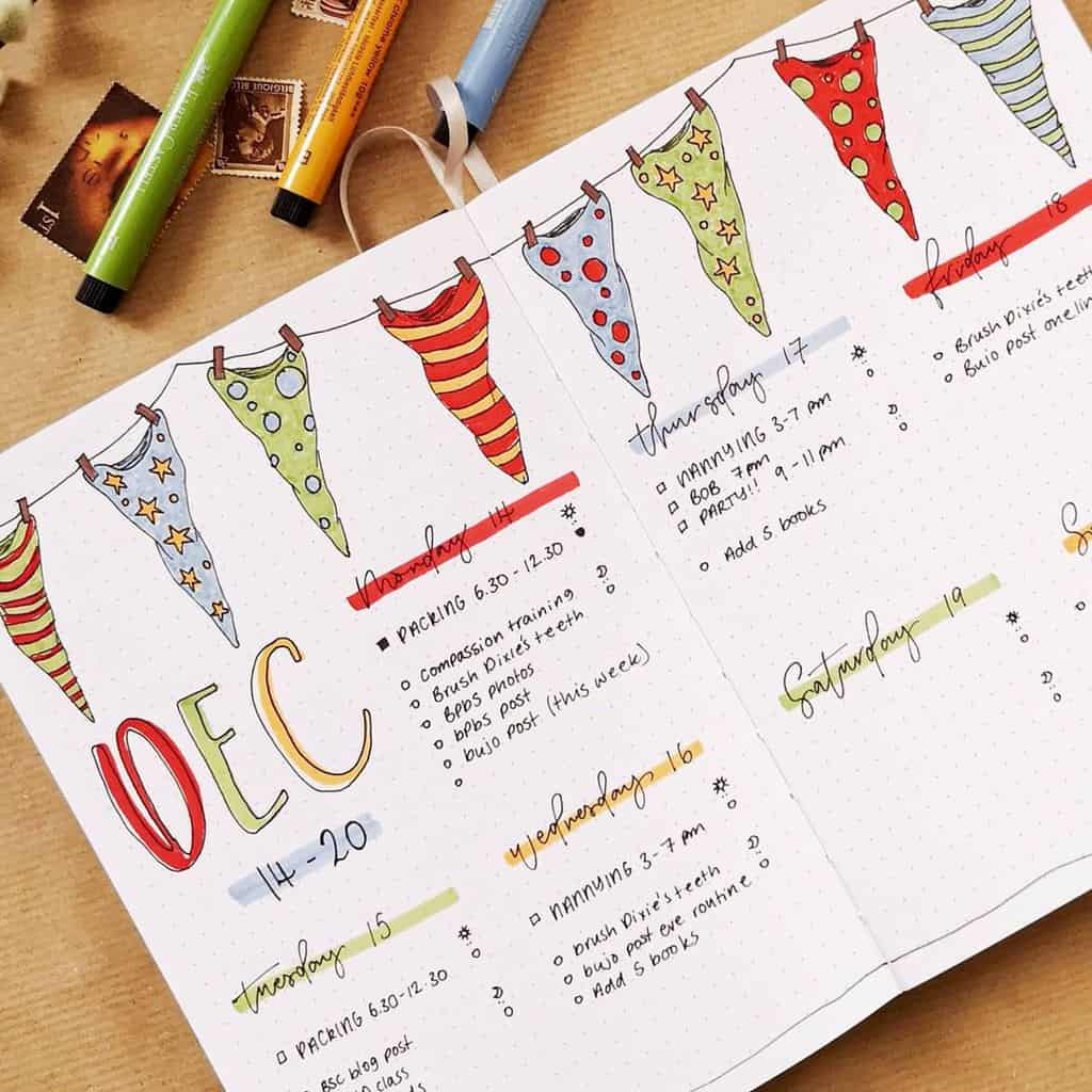 Winter Bullet Journal Page Ideas, weekly page by @bujo.freya | Masha Plans