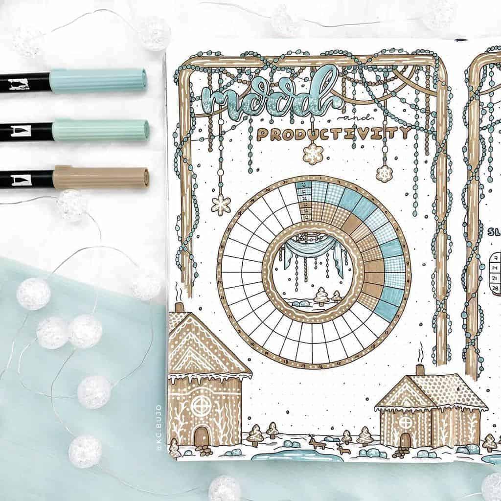 Winter Bullet Journal Inspirations, mood tracker by @kc.bujo | Masha Plans