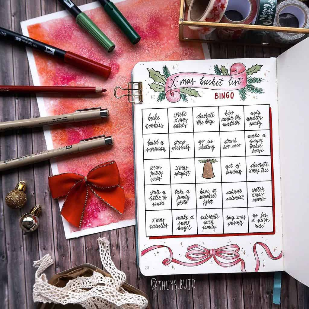 Winter Bullet Journal Page Ideas, christmas bucket list by @thuys.bujo | Masha Plans