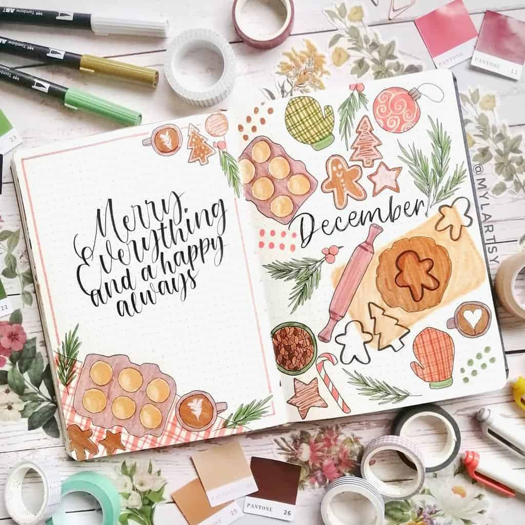 Winter Bullet Journal Theme Ideas, cover page by @mylartsy | Masha Plans