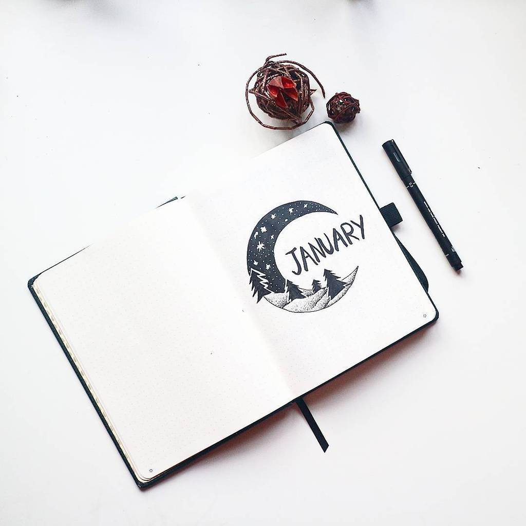 Winter Bullet Journal Inspirations, cover page by @mireeha | Masha Plans