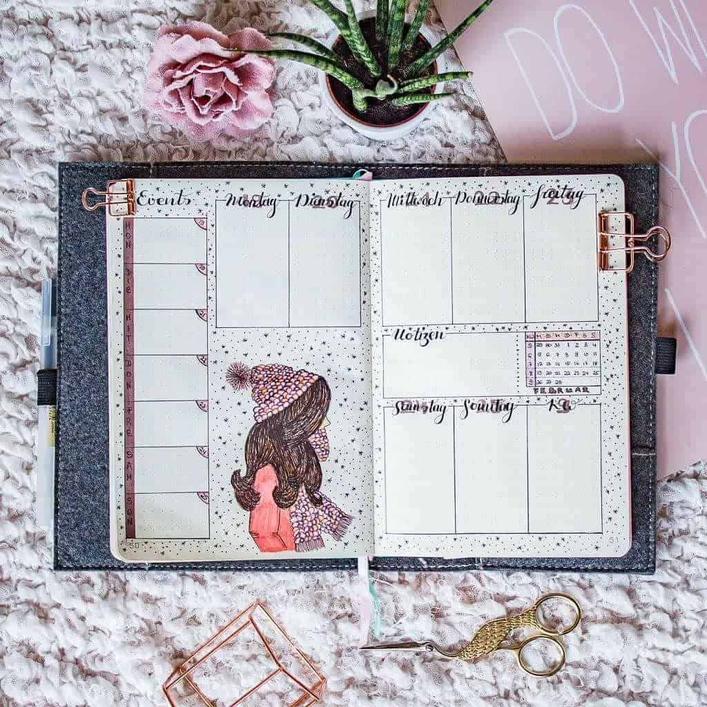 Winter Bullet Journal Inspirations, weekly spread by @creative_desaster | Masha Plans