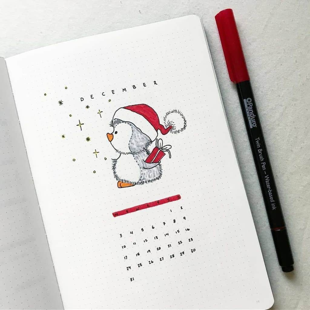 Winter Bullet Journal Theme Ideas, cover page by @buujooo | Masha Plans