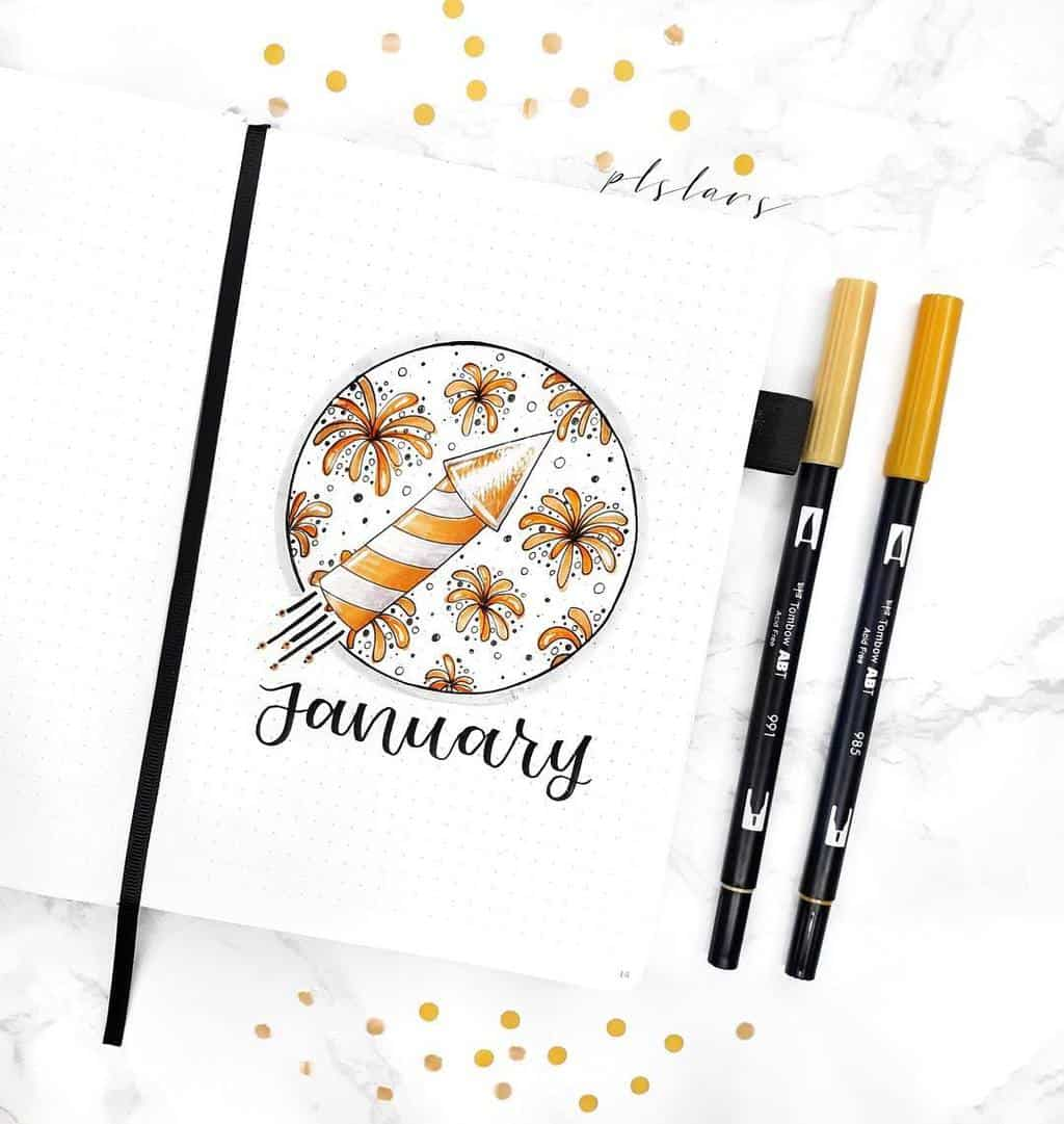 Winter Bullet Journal Inspirations, cover page by @plslars | Masha Plans