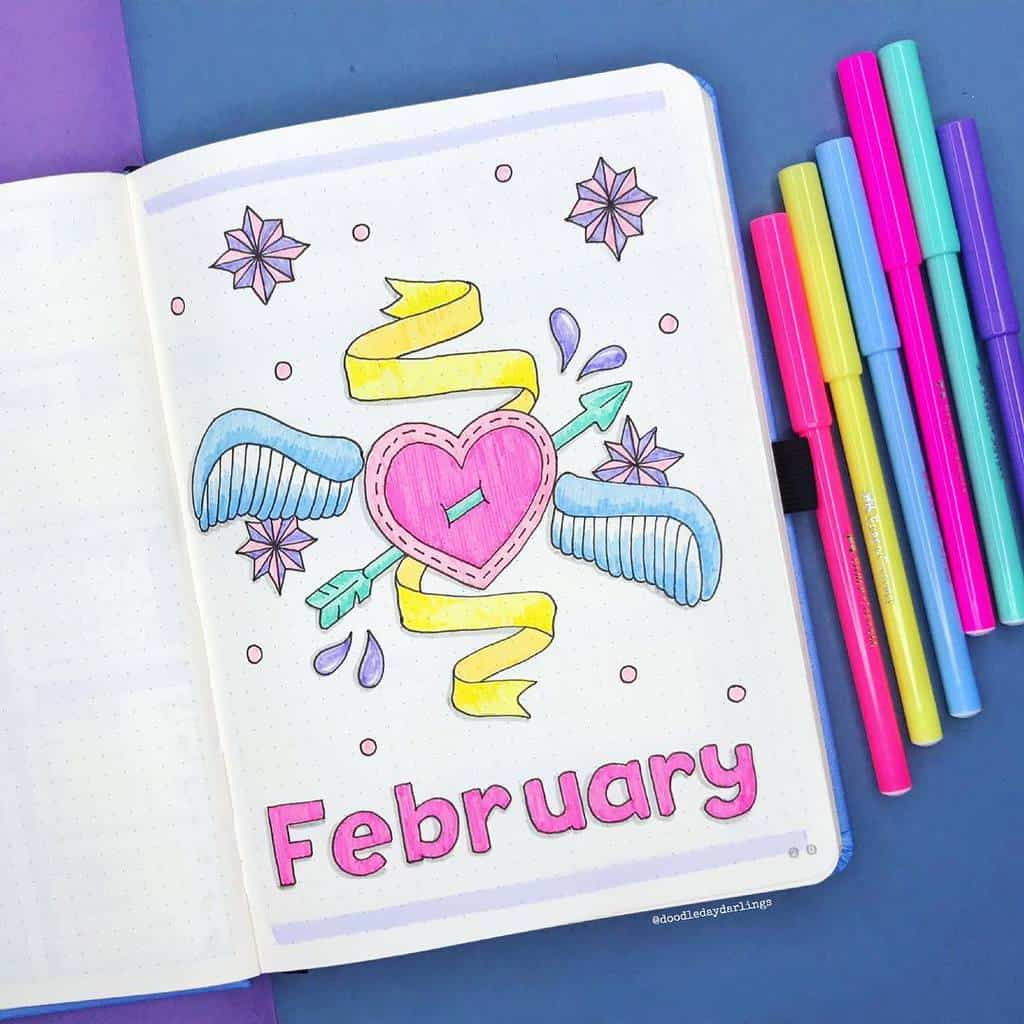 Winter Bullet Journal Inspirations, cover page by @doodledaydarlings | Masha Plans