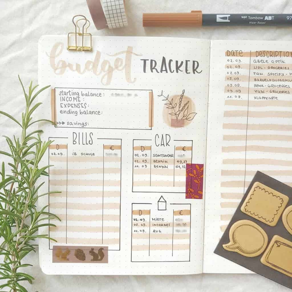 Winter Bullet Journal Page Ideas, budget tracker by @miris.journal | Masha Plans
