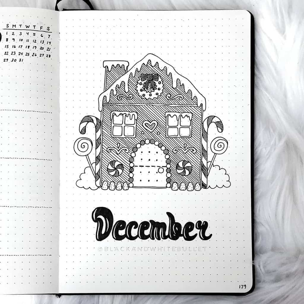Winter Bullet Journal Theme Ideas, cover page by @blackandwhitebullet | Masha Plans