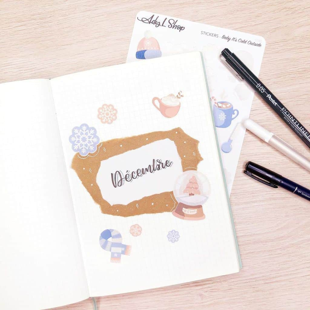 Winter Bullet Journal Inspirations, cover page by @planwithady | Masha Plans
