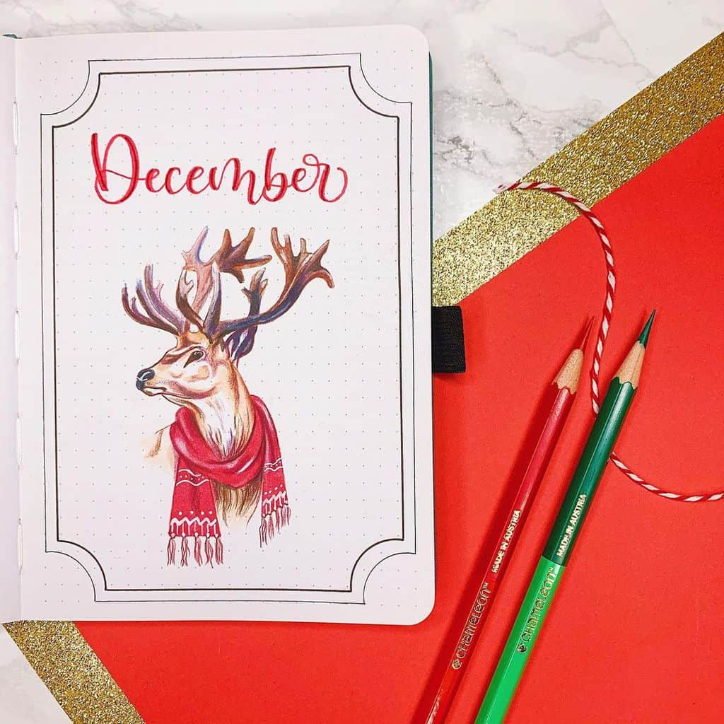 Winter Bullet Journal Theme Ideas, cover page by @journalwithkate | Masha Plans