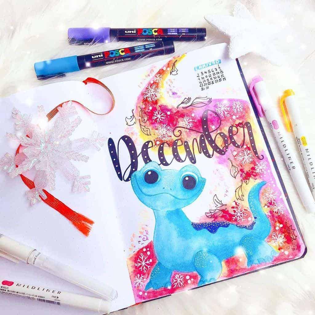 Winter Bullet Journal Theme Ideas, cover page by @bujo_artichaut | Masha Plans