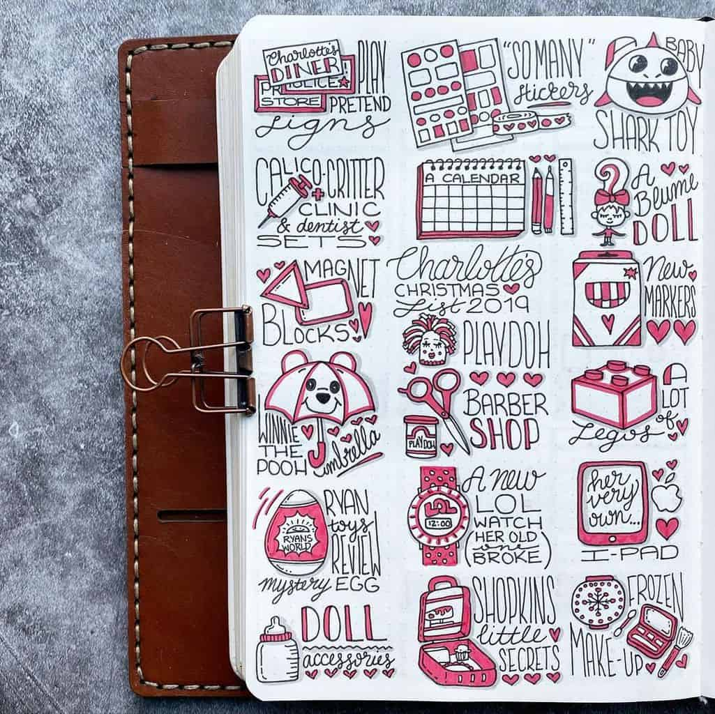 Winter Bullet Journal Inspirations, christmas memory page by @plansthatblossom | Masha Plans