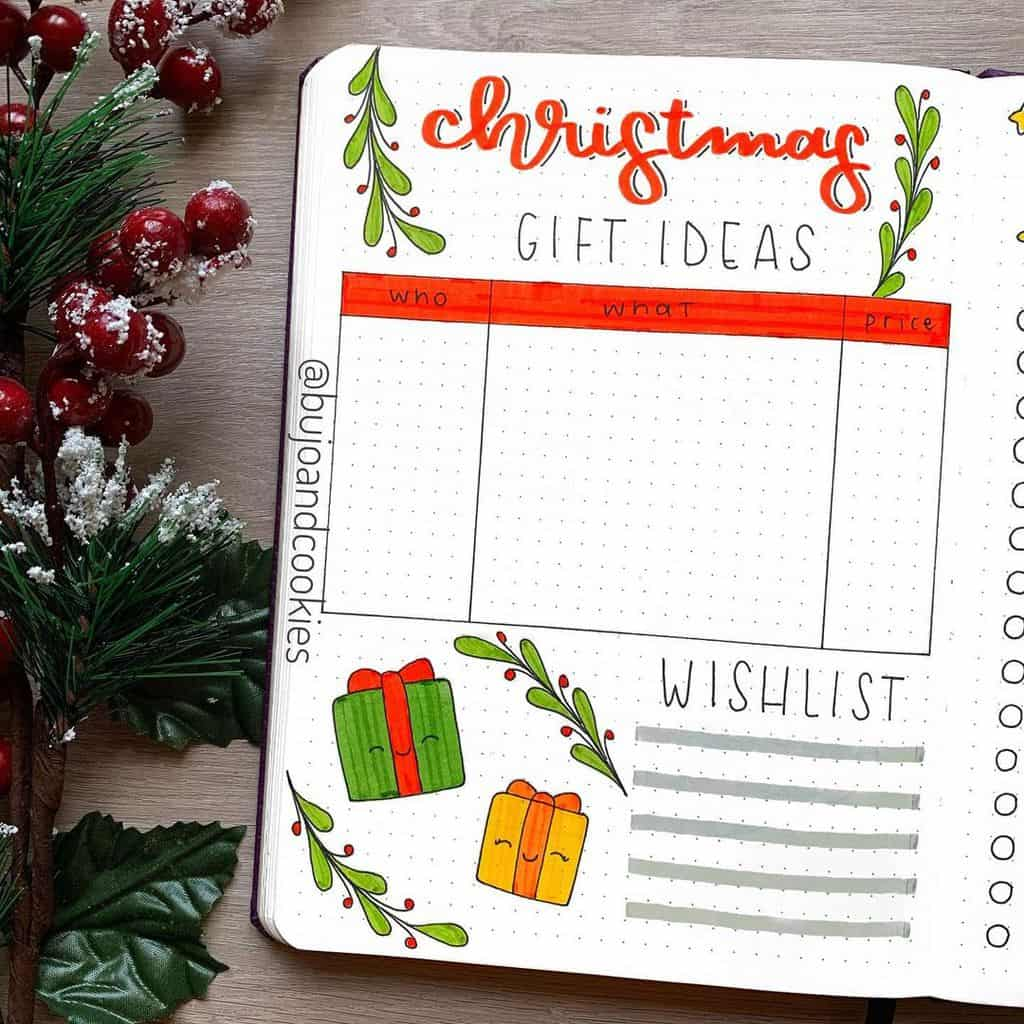 Winter Bullet Journal Page Ideas, christmas gift list by @ bujoandcookies | Masha Plans