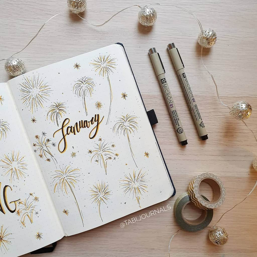 Winter Bullet Journal Theme Ideas, cover page by @tabi.journals | Masha Plans