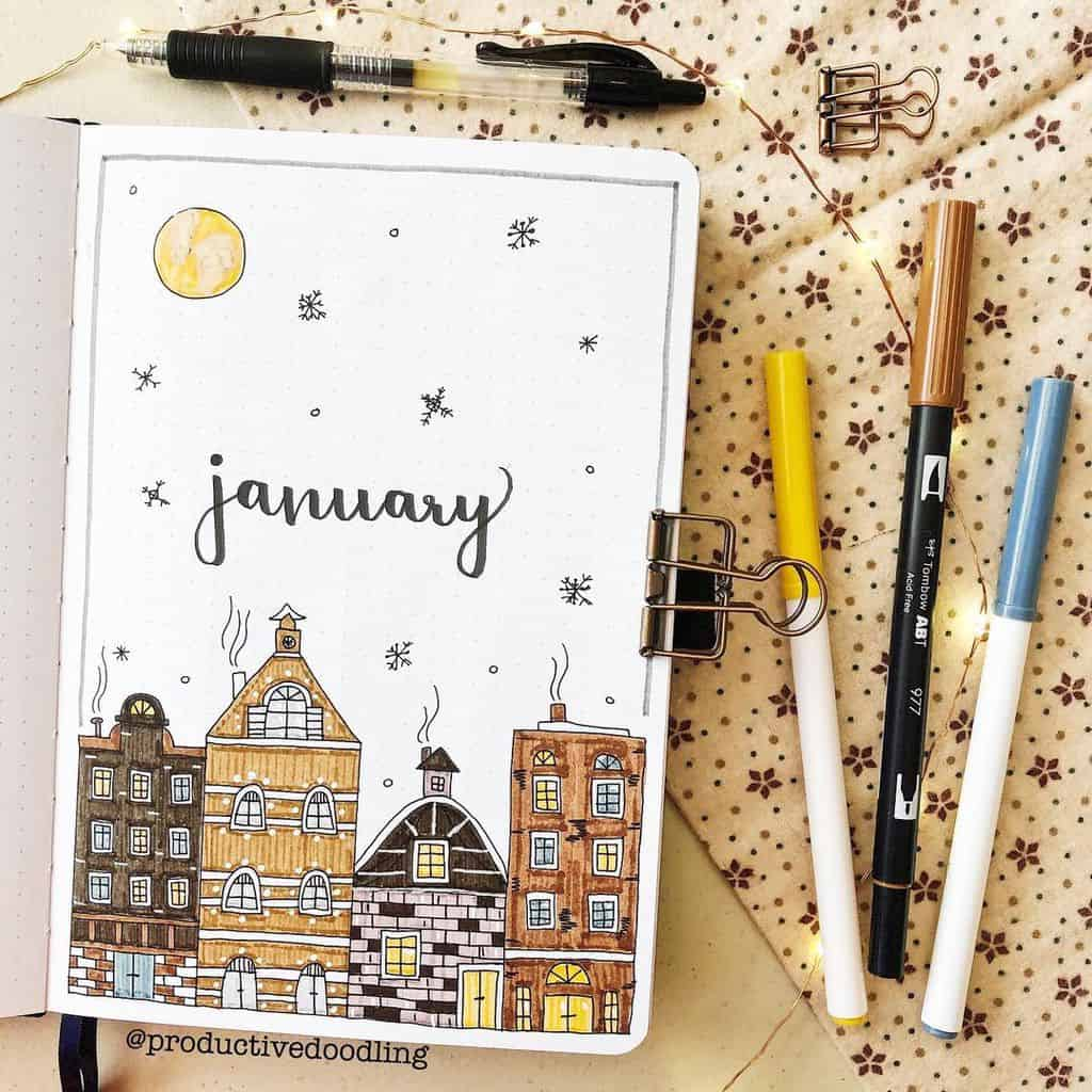 Winter Bullet Journal Inspirations, cover page by @productivedoodling | Masha Plans
