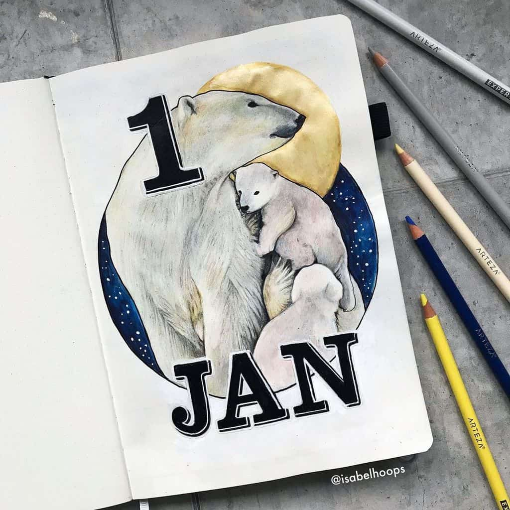 Winter Bullet Journal Theme Ideas, cover page by @isabelhoops | Masha Plans