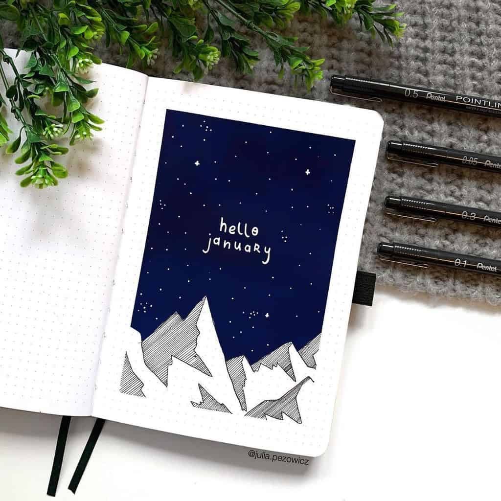 Winter Bullet Journal Theme Ideas, cover page by @julia.pezowicz | Masha Plans