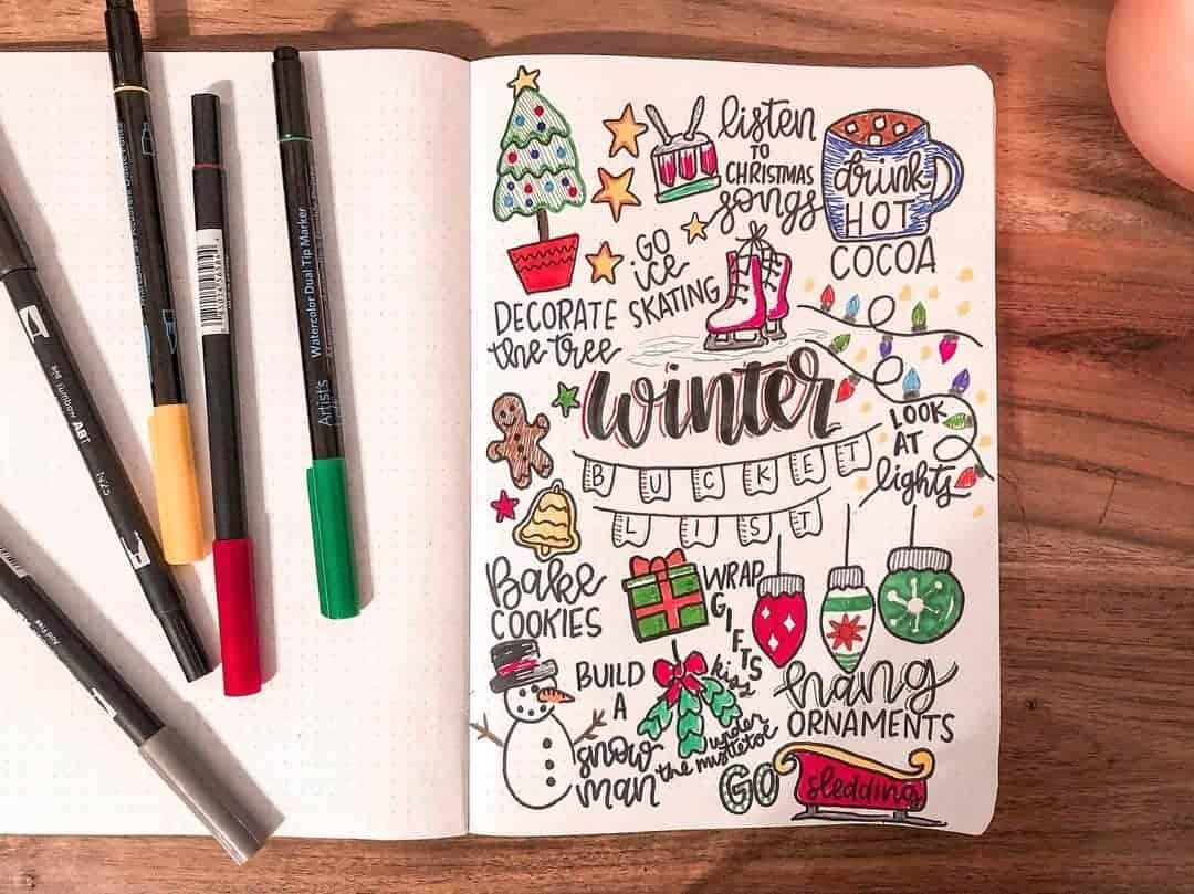 Winter Bullet Journal Page Ideas, winter activities spread by @katieuckotter | Masha Plans