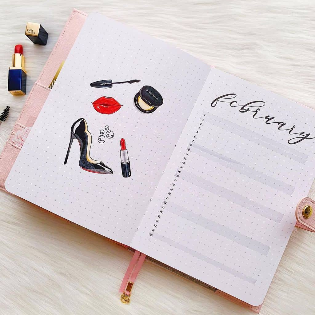 Winter Bullet Journal Inspirations, monthly log by @journalwithkate | Masha Plans