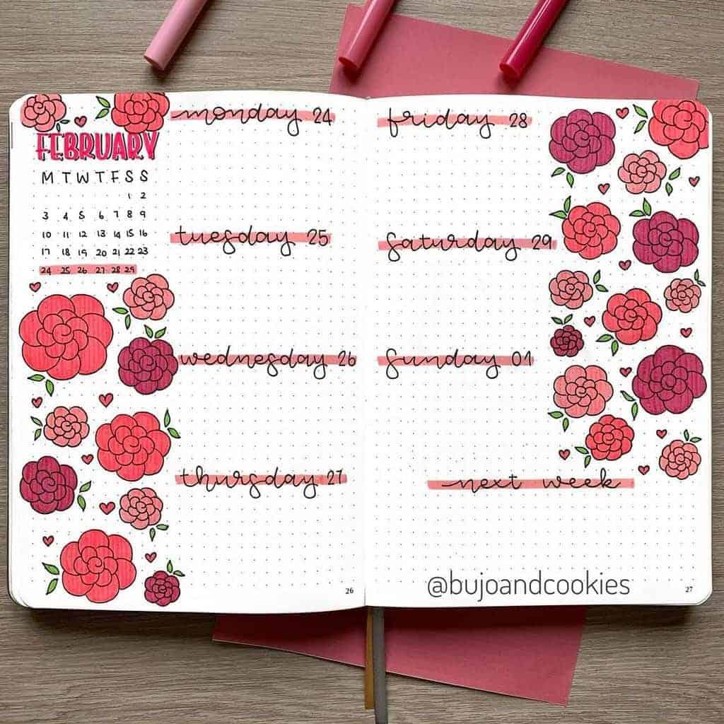 Winter Bullet Journal Inspirations, weekly log by @bujoandcookies | Masha Plans