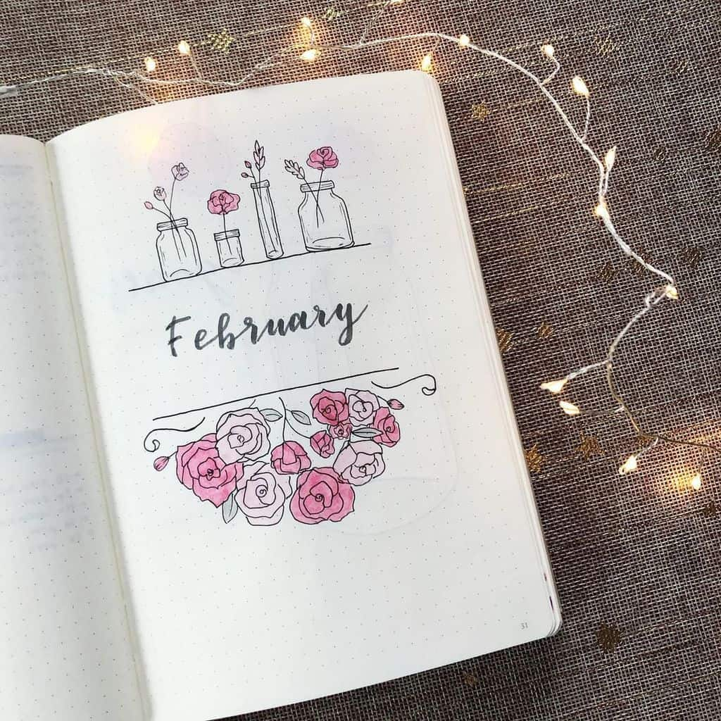 Winter Bullet Journal Theme Ideas, cover page by @_sandras_bujo | Masha Plans