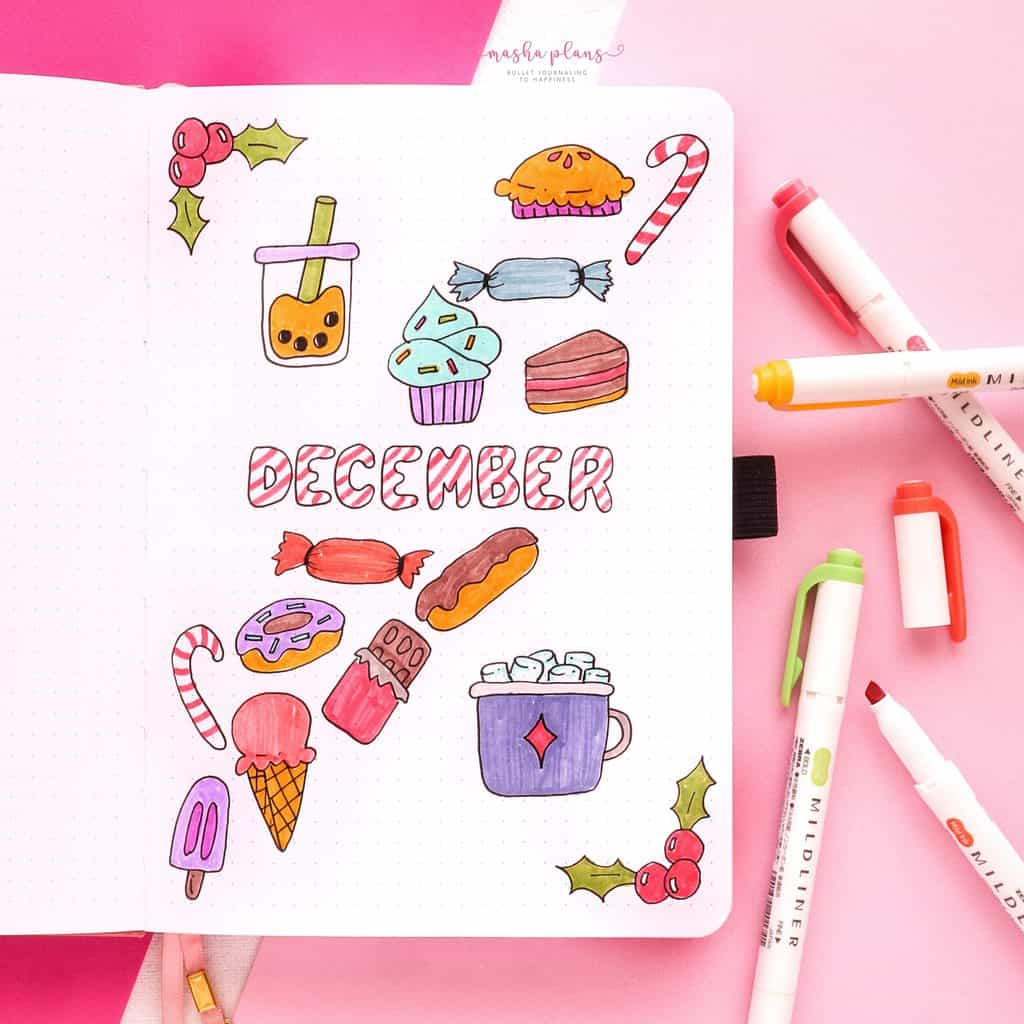 Winter Bullet Journal Theme Ideas, cover page | Masha Plans