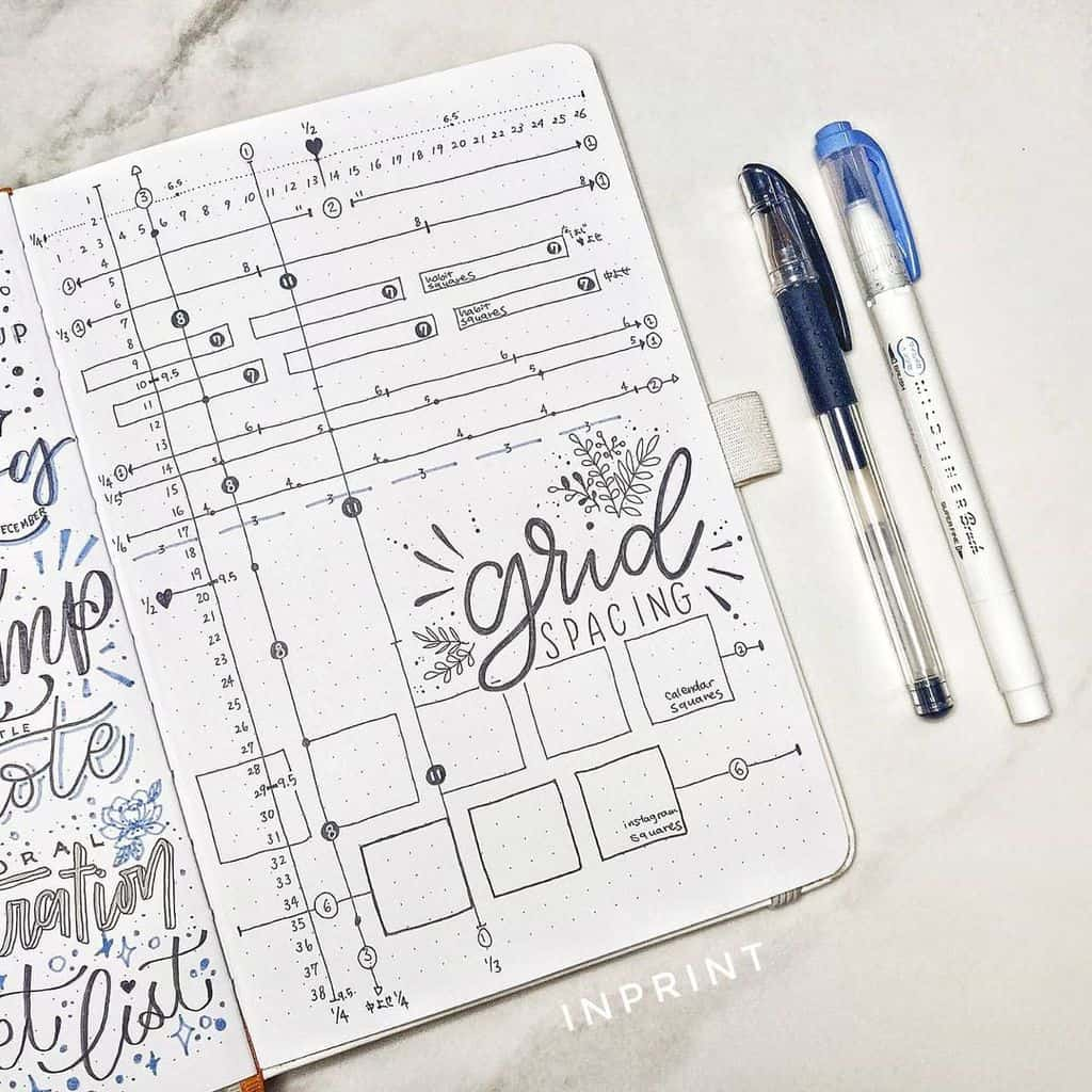 Bullet Journal Grid Spacing Guide Spread by @inprint.xyz | Masha Plans