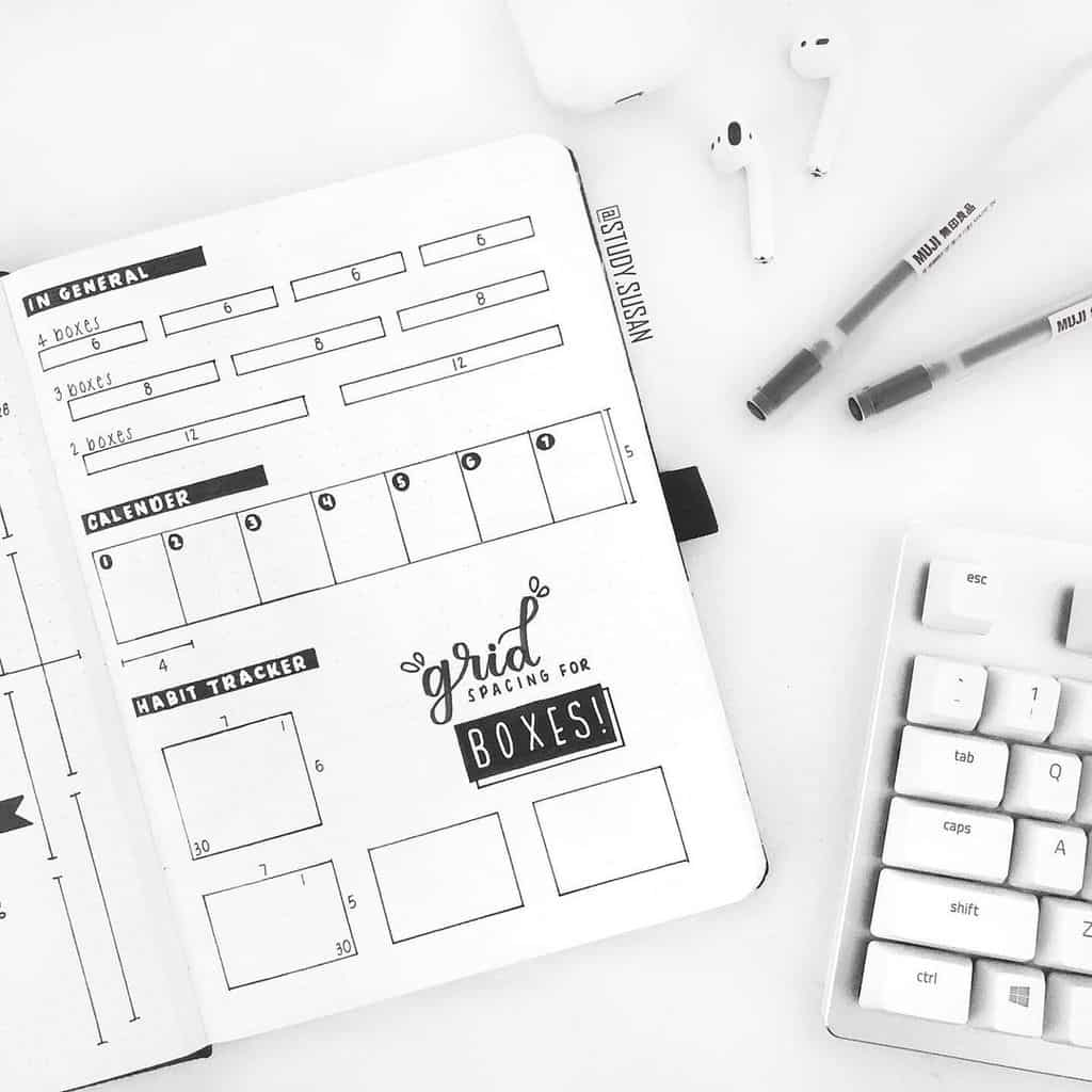 Bullet Journal Grid Spacing Guide Spread by @study.susan | Masha Plans
