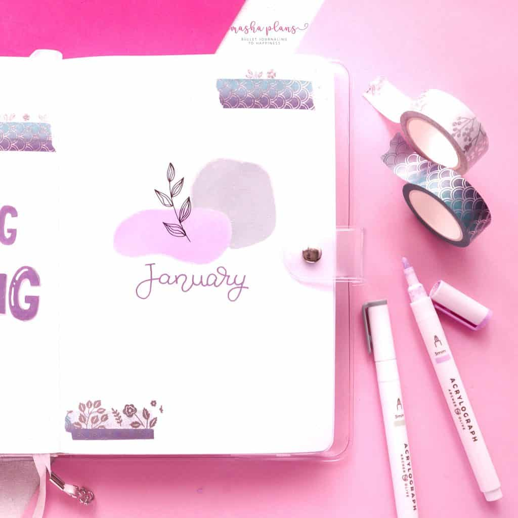 January 2021 Bullet Journal Setup - cover page | Masha Plans