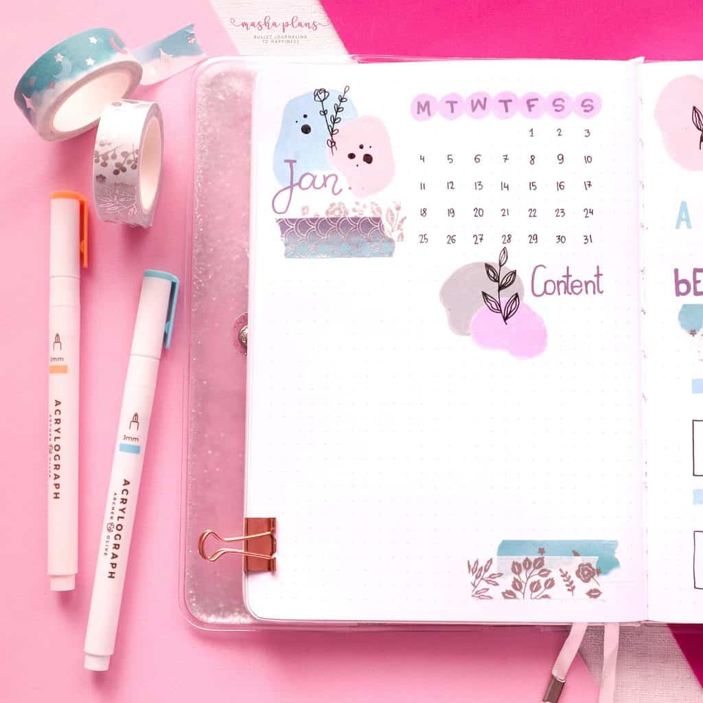 January 2021 Bullet Journal Setup - monthly log | Masha Plans