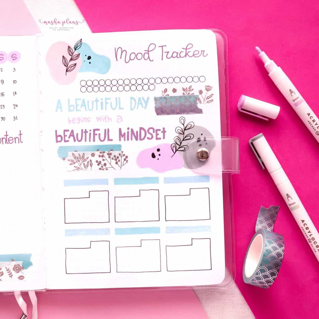 January 2021 Bullet Journal Setup - mood tracker, habit tracker | Masha Plans