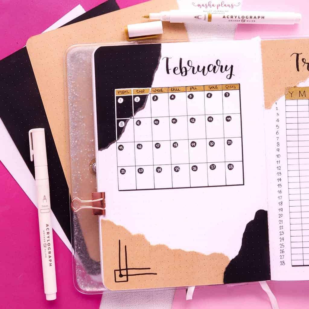 Aesthetic Bullet Journal Setup | February 2021 Plan With Me, monthly log | Masha Plans