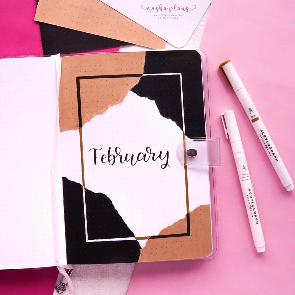 Aesthetic Bullet Journal Setup | February 2021 Plan With Me, cover page | Masha Plans