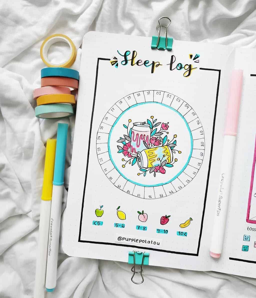 Bullet Journal Sleep Tracker by @purplepotatou | Masha Plans