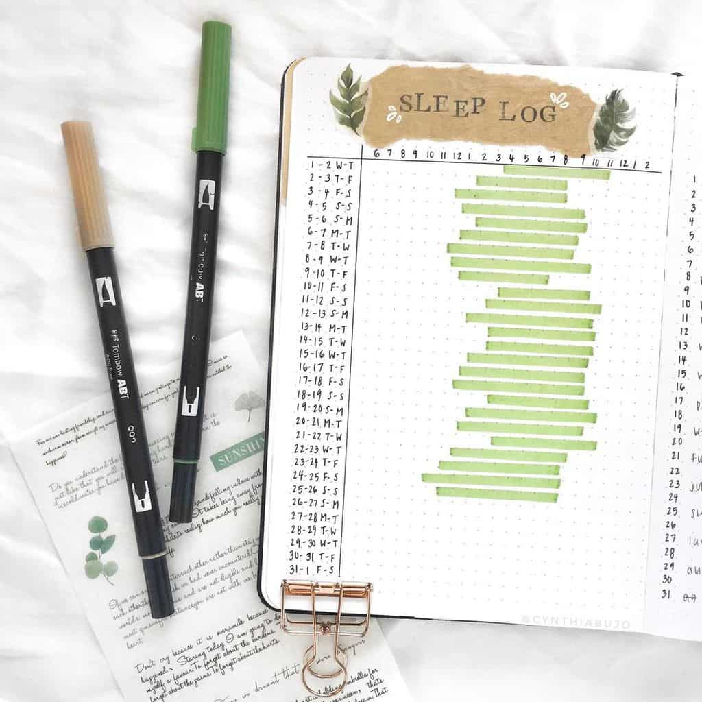Bullet Journal Sleep Tracker by @cynthiabujo | Masha Plans