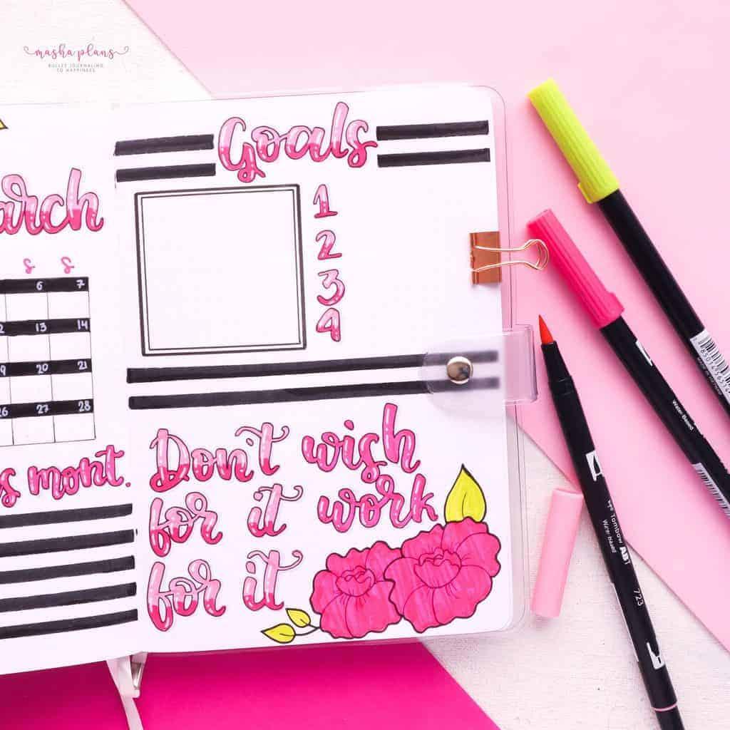 March Bullet Journal Setup, goals page | Masha Plans