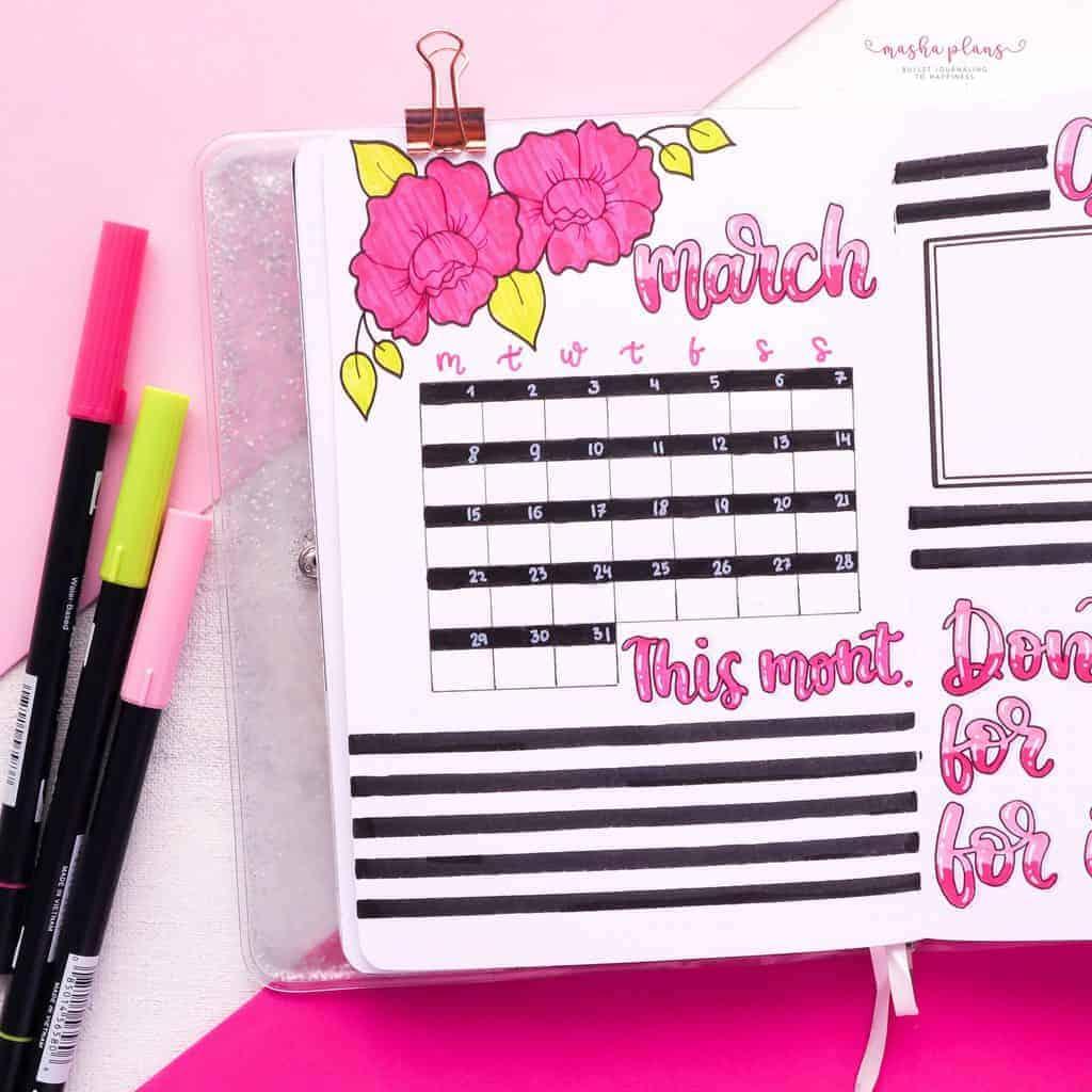 March Bullet Journal Setup, monthly log | Masha Plans