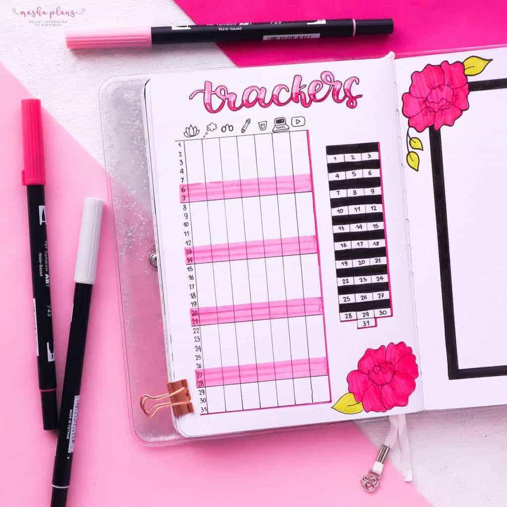 March Bullet Journal Setup, habit tracker mood tracker | Masha Plans