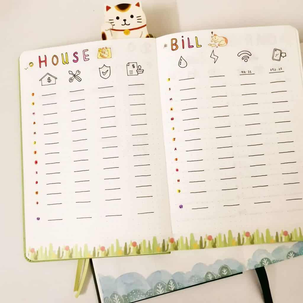 Bullet Journal Bill Tracker by @bujowith_kids | Masha Plans
