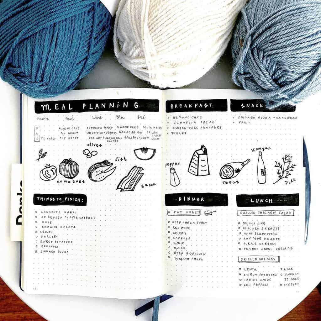 Bullet Journal Meal Planning Spread by @bajillion.bajournals | Masha Plans