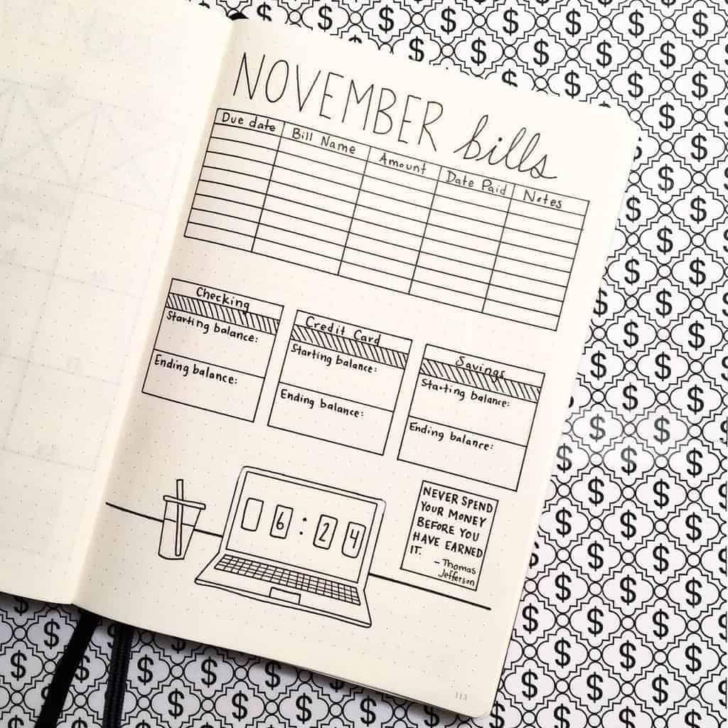 Bullet Journal Bill Tracker by @hayobujo | Masha Plans