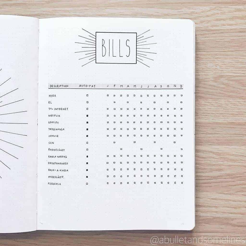 Bullet Journal Bill Tracker by @abulletandsomelines | Masha Plans