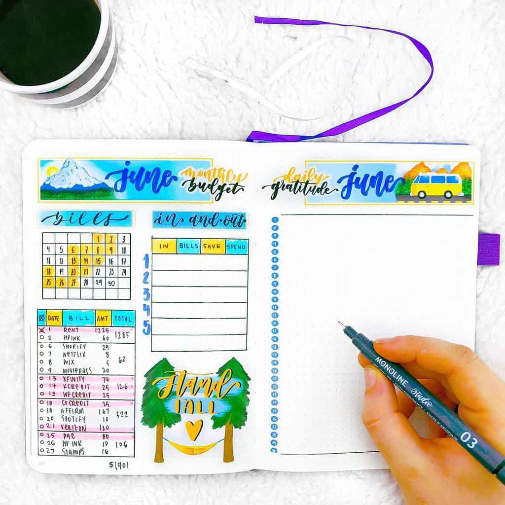 Bullet Journal Monthly Finances Page by @planningwithkay | Masha Plans