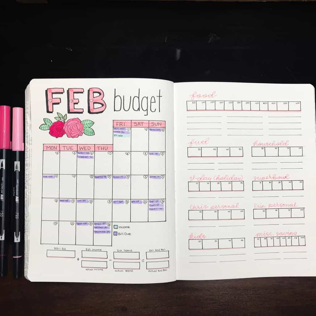 Bullet Journal Monthly Finances Page by @the.petite.planner | Masha Plans