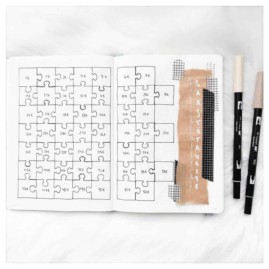Bullet Journal Savings Tracker by @kiiabujoilee | Masha Plans