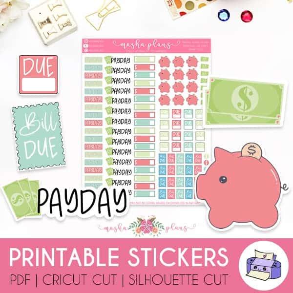Printable Financial Planner Stickers | Masha Plans