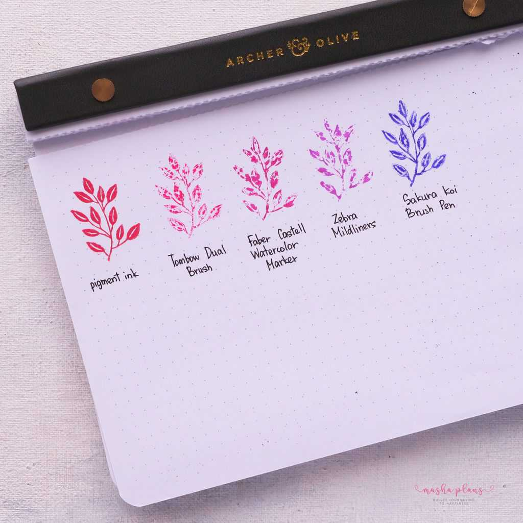 How To Use Bullet Journal Stamps, using markers instead of ink | Masha Plans