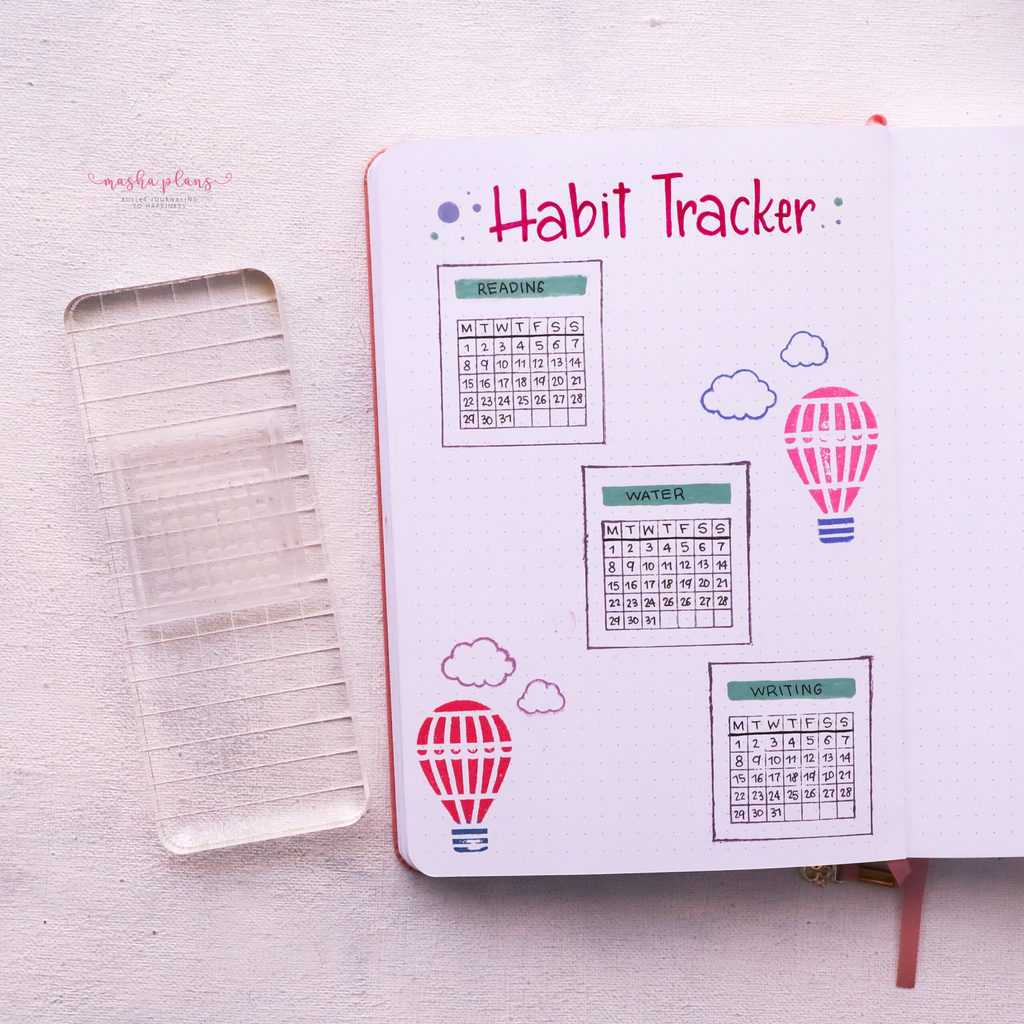 How To Use Bullet Journal Stamps, habit tracker stamp | Masha Plans