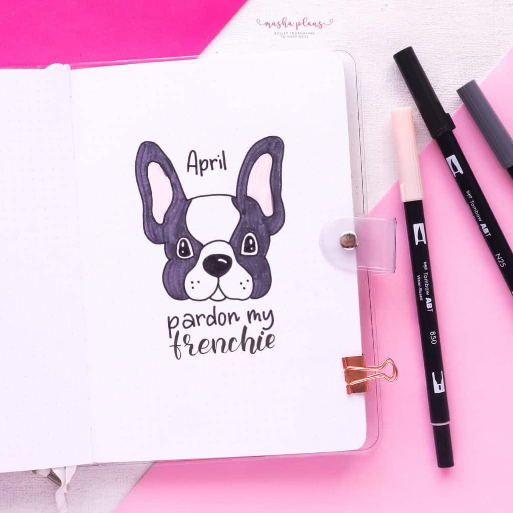 Puppie Bullet Journal Setup, April Plan With Me, cover page | Masha Plans