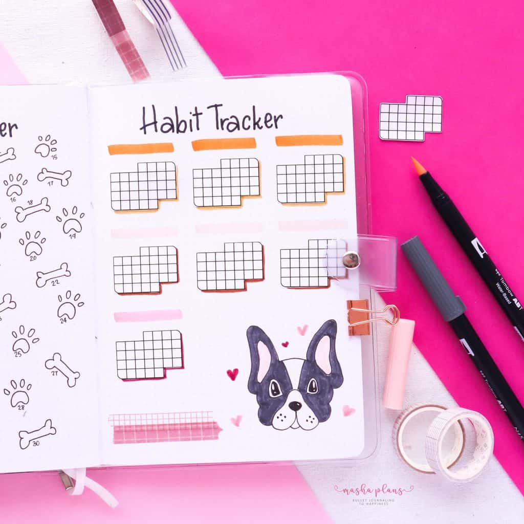 Puppie Bullet Journal Setup, April Plan With Me, habit tracker | Masha Plans